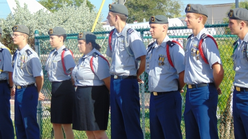 Cadets Honoring Veterans at the Veterans Memorial