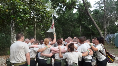 Cadets motivating each other to try to win best company.