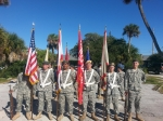 Male and Female Color Guards prepare for the Homecoming Parade