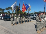The Male and Female Color Guards in the Homecoming Parade